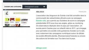 """Capture d'écran de la page """"Catégorie changement social"""""""
